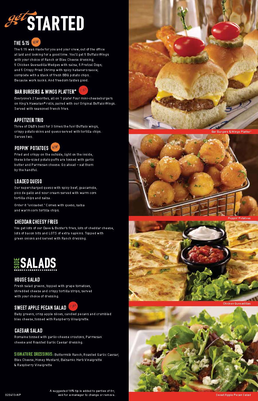 David Busters Food Menu