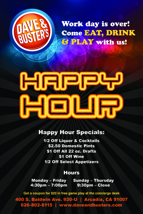 Dave and Busters Happy Hour differs ever so slightly from your traditional restaurant. While there are days with special deals for food and drinks, Dave and Busters Happy Hours offer .